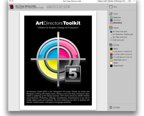 Preview of InDesign document with Art View